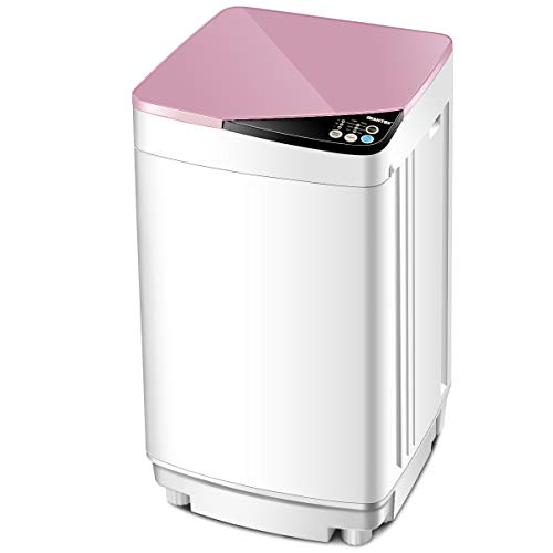 Giantex Full-Automatic Washing Machine Portable Washer and Spin Dryer 10 lbs Capacity Compact Laundry Washer with Built-in Barrel Light Drain Pump and Long Hose for Apartments Camping (White & Pink)