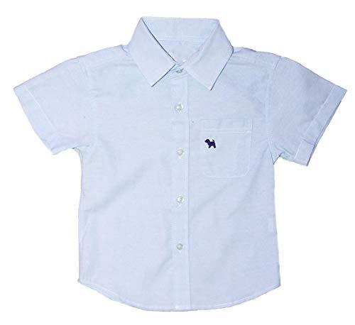 - Boys Button Down Shortsleeve Dress Shirt Oxford Cotton Material (Blue, 8-9)