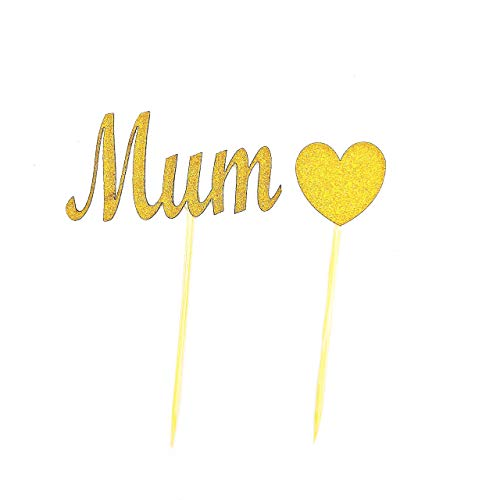Gold Mum Heart Cupcake Topper Mother's Day Cupcake Toppers Mom Cupcake Topper Mothersday Cupcake Topper Mothersday ()