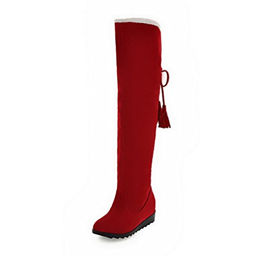 AmoonyFashion Womens Frosted Round Closed Toe Solid High-Top High-Heels Boots Red aN8CUff