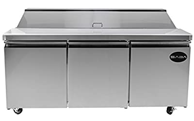 "Heavy Duty Commercial Sandwich Salad Prep Table Refrigerator Cooler 3 Door 72"""