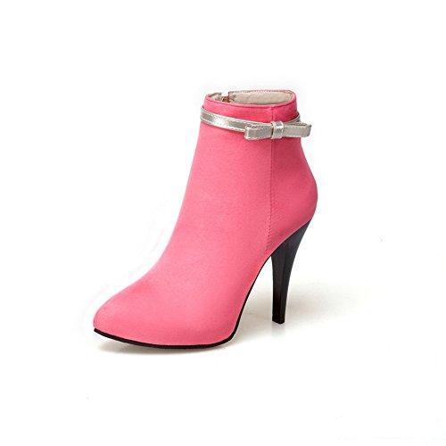 BalaMasa Womens Spikes Stilettos Dress Platform Knot Suede Boots ABL09877 Peach keCJNRUlzW