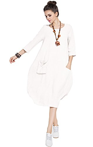 (Anysize Soft Linen Lantern Loose Dress Spring Summer Fall Plus Size Clothing Y19)