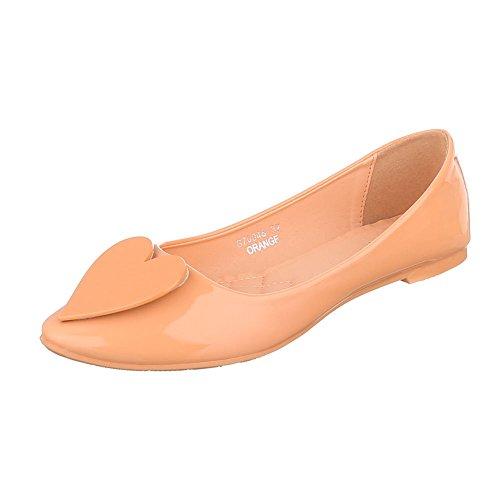 Ital-Design Klassische Ballerinas Damenschuhe Blockabsatz Orange G70048