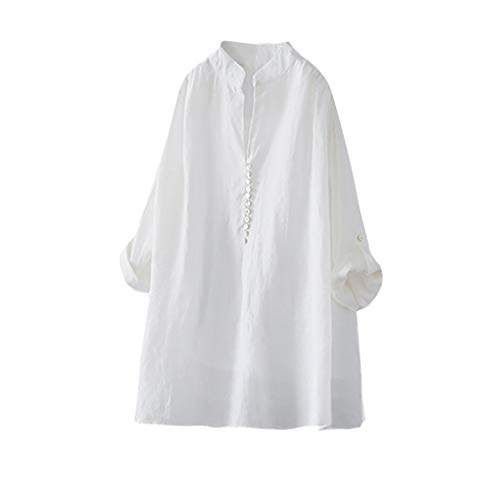 (Sunhusing Women's Large Size Cotton Linen Button Buckle V-Neck Bat Sleeve Long-Sleeve Solid Color Shirt T-Shirt White)