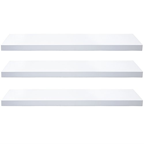 """WOLTU Set of 3 Floating Wall Shelves MDF Wall Mount Wood Ledge Display and Organizer Rack with Hidden Brackets,39.37"""" long, White, WS03whiS100-3 from WOLTU"""