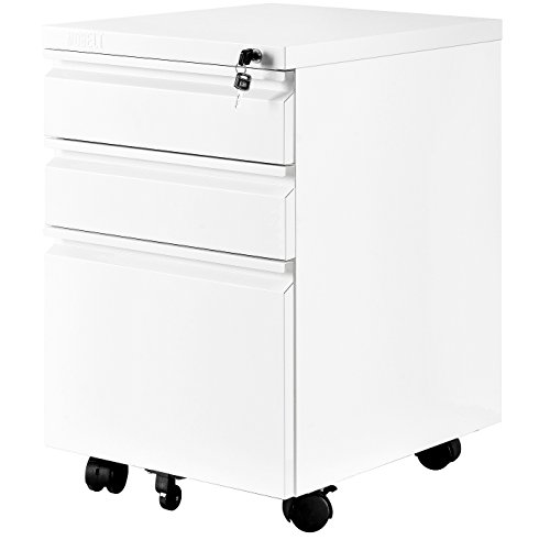 MOBILE FILE CABINET WITH 3 DRAWERS WITHE