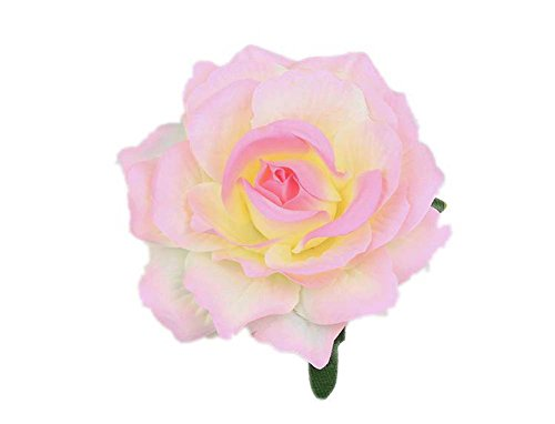 Lovefairy Beautiful Rose Flower Hair Clip Pin up Flower Brooch For Party Travel Festivals (Light Pink)