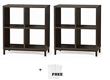 Better Homes and Gardens.. Cube Organizer with Metal Base, 4 Cube Set of 2, Espresso + Free Cleaning Fabric Cloth
