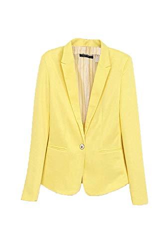 Printemps L To Blazers Work Un Jaune Casual Wear Manteau Fit couleur Coupe Womens Orange Taille Zhrui Bouton Automne pa57wxEqnP