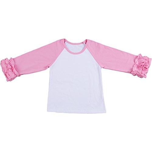 IBTOM CASTLE Toddler/Little Girls' Long-Sleeve Icing Ruffle T-Shirt Raglan Shirts 12M-8Y Cotton Top School Tee Cuff Undershirt Pink 18-24Months (School Tee Toddler)