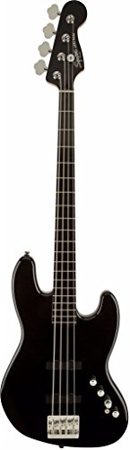 4 Deluxe Electric Bass (Squier by Fender Deluxe Jazz Electric Bass Guitar IV Active (4 String), Ebonol Fretboard with Gear Guardian Extended Warranty - Black)