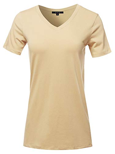 Basic Solid Premium Cotton Short Sleeve V-Neck T Shirt Tee Tops Sand XL ()