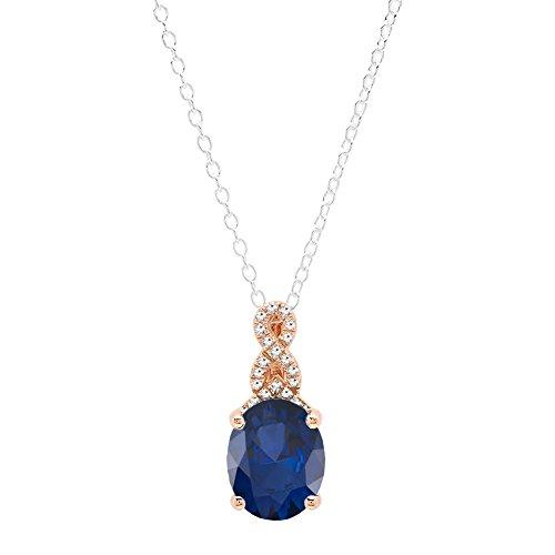 M Oval Cut Blue Sapphire & Round White Diamond Ladies Pendant (10x8mm Oval Cut Sapphire)