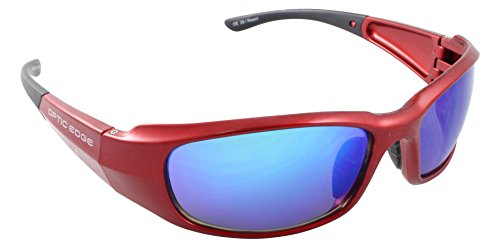 Optic Edge React Shiny Aluminum Red Frame and Ice Blue Mirror Lens