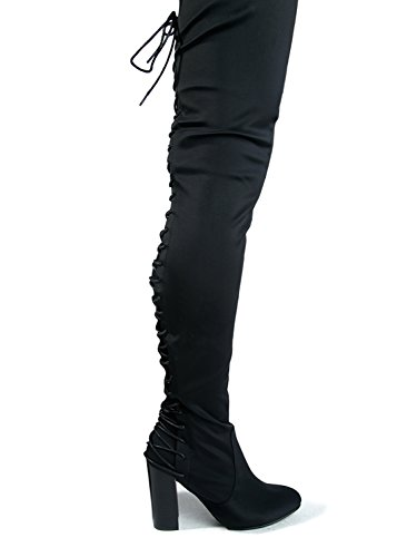 6e32a300ae6 J. Adams Gorgeous Lace up Over The Knee Boot - Vegan Suede Thigh High -  Trendy High Heel Shoe - Koko - Medieval Merchandise