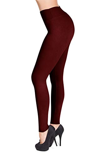 (SATINA High Waisted Leggings – 22 Colors – Super Soft Full Length Opaque Slim (One Size, Burgundy))
