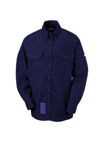 (Bulwark Flame Resistant Dress Shirt Navy Excel FR ComforTouch 7oz Uniform Style)