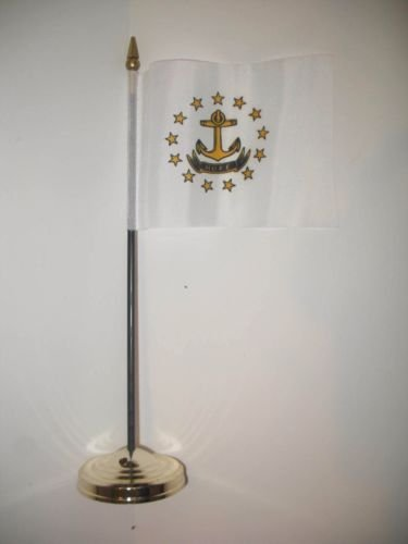 Rhode Island State Flag 4''x6'' Desk Set Table Stick Gold Base BEST Garden Outdor Decor polyester material FLAG PREMIUM Vivid Color and UV Fade Resistant by Moon