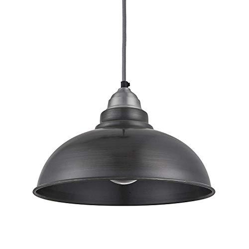 (TUNBG Industville - Old Factory Pendant - 12 Inch - Ceiling Light - Light Shade - Black/Copper Colour - Pewter/Copper/Brass Material - 20 cm X 30.4 cm X 30.4 cm,Brass/Black/Grey)