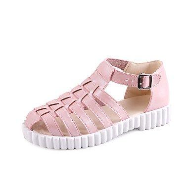 LvYuan Mujer-Tacón Plano-Confort-Sandalias-Exterior Vestido Informal-PU-Rosa Blanco White