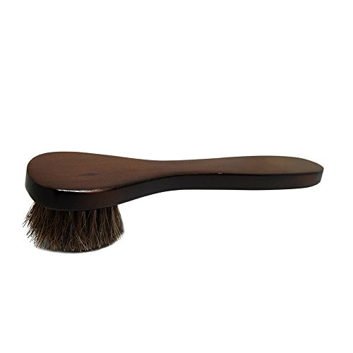 2PCS Polish Shoe Brush  ,  6.7'' Horse Shine Horsehair Brushes With Leather Dauber , Waterproofing Brown Cleaning Applicator Conditioner For Coats , Handbags ,  Purses ,  Briefcases ,  Saddles ,  Boot by ieasycan (Image #1)