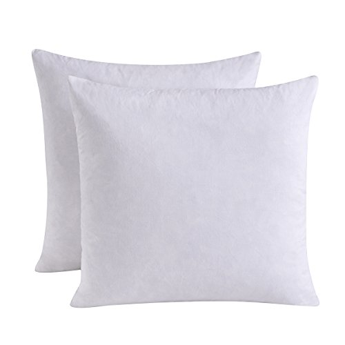 Set of 2, Feather and Down Square Decorative Throw Pillow Insert, 100% Cotton, 20x20 Inch - Euro Top 20