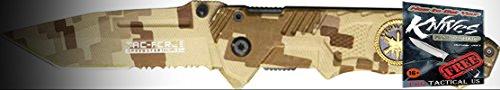 Tac Force Sharp Elite Knife 010458SF Camo Desert Tan Canvas Combo A/O Camo Handle Folder + free eBook by ProTactical'US