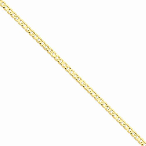 Open Curb Chain - Solid 14k Yellow Gold 5.25mm Open Concave Curb Cuban Link Chain Necklace - with Secure Lobster Lock Clasp 22