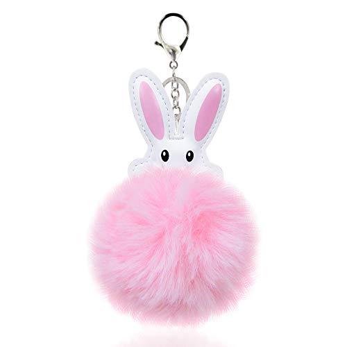Unisex Fuzzy Animal Bunny Rabbit Pom Pom Keychain and/or Bag Charm (Pink