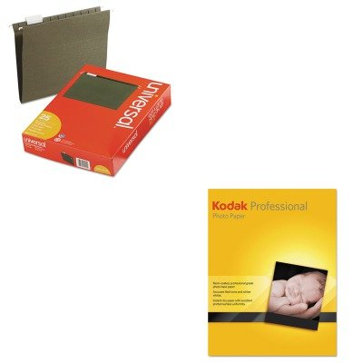 KITBMG08400109AUNV14115 - Value Kit - Kodak Professional Inkjet Fibre Satin Fine Art Paper (BMG08400109A) and Universal Hanging File Folders (UNV14115) by Kodak