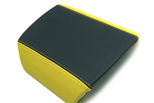 - Autoguru Chevrolet Camaro Center Console Armrest Real Leather Cover Black/Yellow, Yellow Stitch for 10-15
