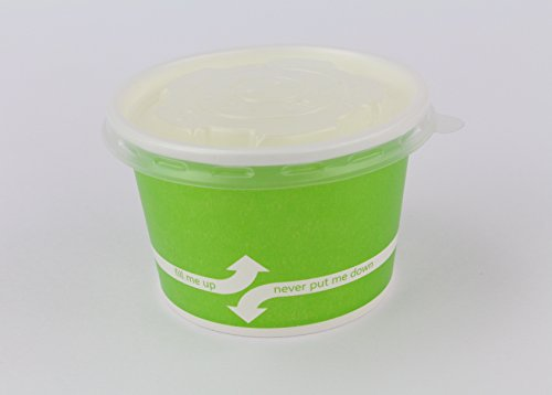 100 Count Green Deli Containers Durable Food Storage Containers with Lids Hot and Cold Disposable 8oz Containers Use for Frozen Desserts, Soups, or Any Food of Your Choice by Karat