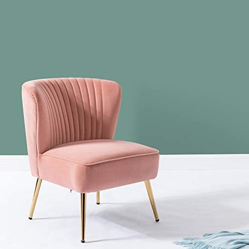 Velvet Chair with Gold Legs for Girls Women Bedroom Vanity Desk Chairs- Blush Pink