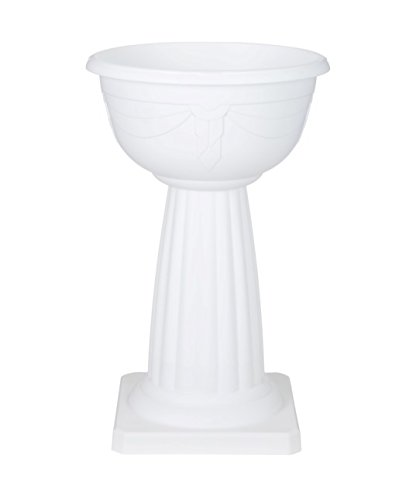 40cm Venetian Jardiniere Planter Plant Pot Plastic Pedestal - White Whitefurze