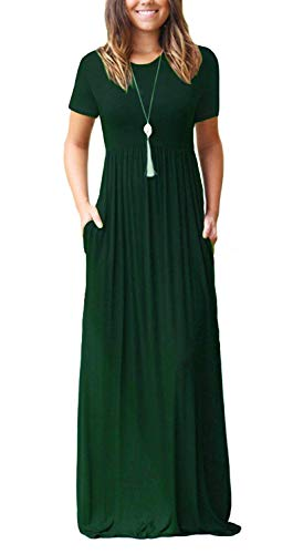 (Women's Short Sleeve Long Maxi Summer Casual Dresses Dark Green Large)