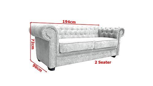 Chesterfield Style Corner Sofa Set 3 2 Seater Armchair Light Grey