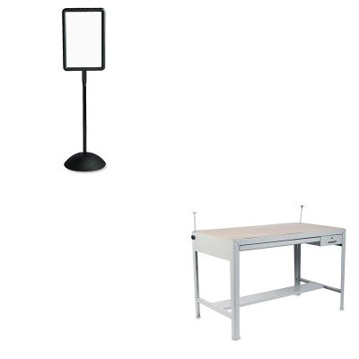 KITSAF3962GRSAF4117BL - Value Kit - Safco Precision Four-Post Drafting Table Base (SAF3962GR) and Safco Double Sided Sign (SAF4117BL) - Safco Precision Drafting Table