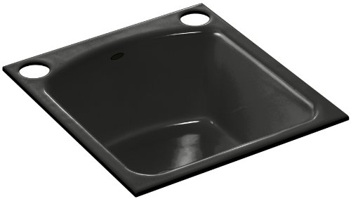 Kohler K-5848-2U-FP Napa Undercounter Entertainment Sink with Two-Hole Oversized Drilling, Caviar
