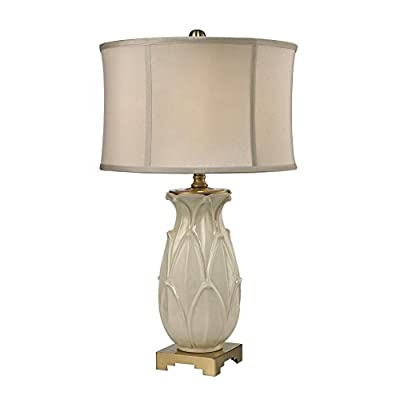 "30"" Leaf Ceramic Table Lamp In Cream Crackle"