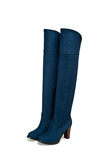 Toe AmoonyFashion Suede Zipper Round Solid Women's High Blue Imitated Closed Boots Heels axppBtfqw