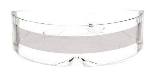 Futuristic Shield Sunglasses Monoblock Cyclops 100% UV400 (Clear + Silver Stripe, - Cool Shades