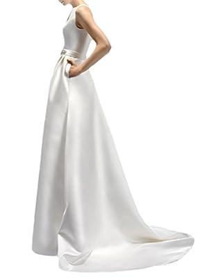 Hblld Women's Crystal Silk Satin Wedding Dress Bridal Ball Gowns