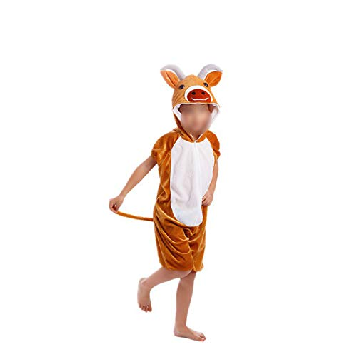 Halloween Cosplay Jumpsuit Animal Performance Costume Long Sleeve One Piece,Yellow Cattle,120cm ()