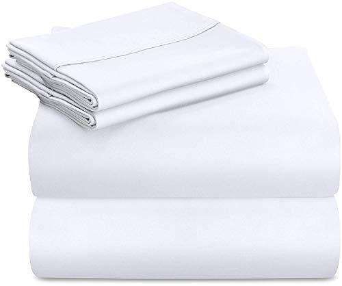 - Utopia Bedding Premium 100% Cotton Bed Sheet Set 300 Thread Count - 4 Piece Bedding Set, 1 Flat Sheet, 1 Fitted Sheet and 2 Pillowcases (Queen, White)