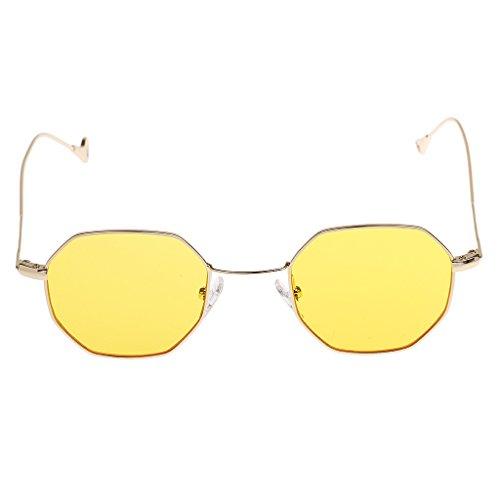 Spectacles Rétro Unisexe De Lunettes Jaune Goggles Vintage Protection Rond UV MagiDeal Soleil xw71XCq4