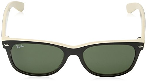 f6d79e843187 Amazon.com  Ray-Ban New Wayfarer RB2132 Sunglasses-875 Black On  Beige Crystal Green-55mm  Ray-Ban  Clothing