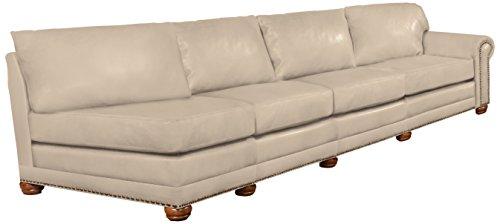Omnia Leather Dominion Right Arm 4 Cushion Sofa in Leather, with Nail Head, Softstations White Winter