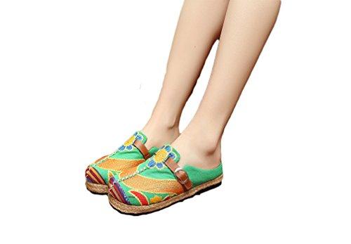 Ausom Damen Sommer Leinwand Leinen Espadrille Stickerei Slip-on Loafer Walking Hausschuhe Grün