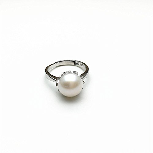 PearlsStudio Women's 925 Sterling Silver Ring 8mm Natural Freshwater Cultured Pearl ring Stud Zirconia Ring ring with 18K white gold Plated